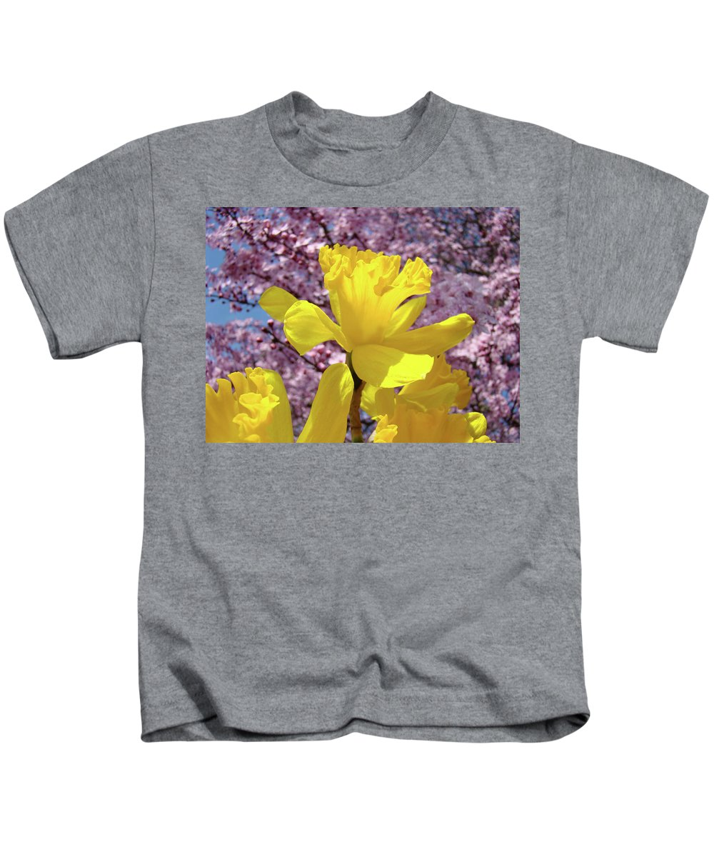 Nature Kids T-Shirt featuring the photograph Floral Fine Art Daffodils Art Prints Spring Flowers Sunlit Baslee Troutman by Baslee Troutman