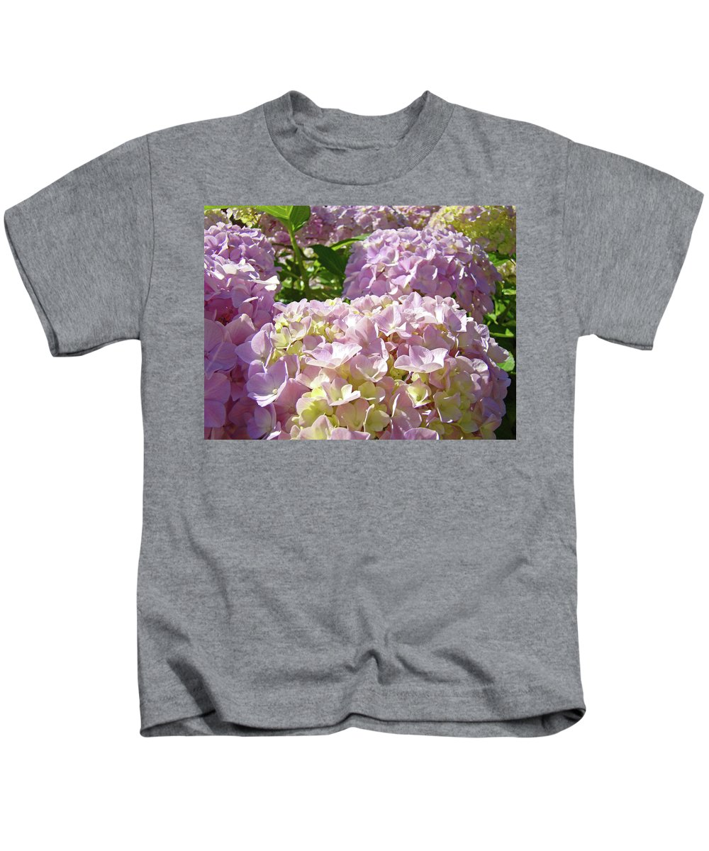 Nature Kids T-Shirt featuring the photograph Floral Hydrangea Flowers Pink Garden Art Baslee Troutman by Baslee Troutman