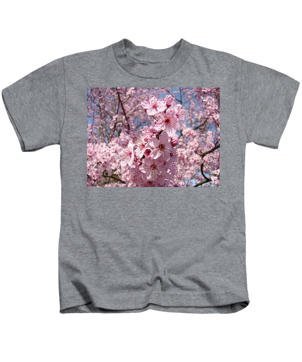 Blossom Kids T-Shirt featuring the photograph Floral Spring Art Pink Blossoms Canvas Baslee Troutman by Baslee Troutman