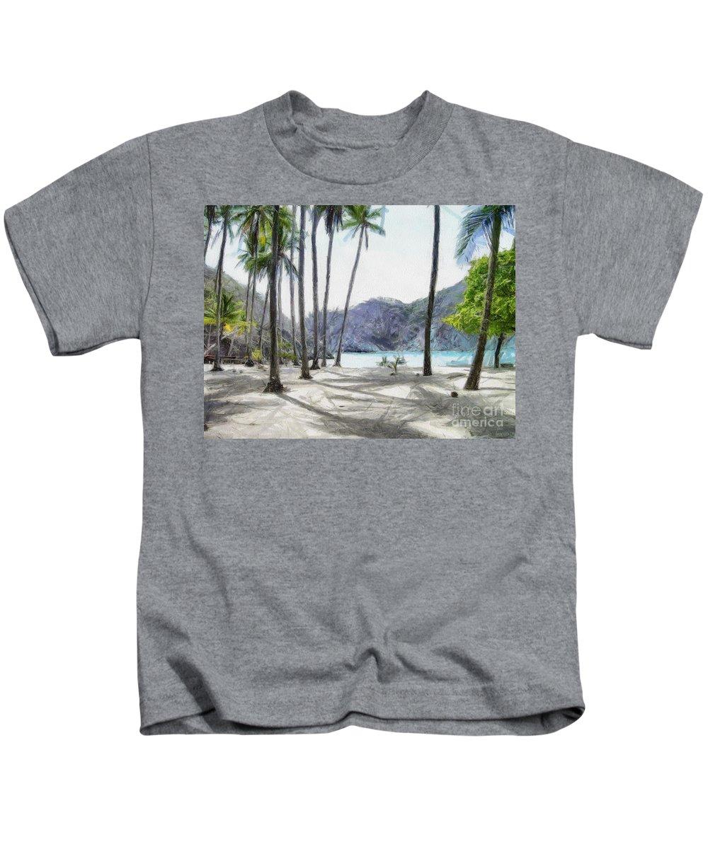 Landscape Kids T-Shirt featuring the painting Florida beach by Murphy Elliott