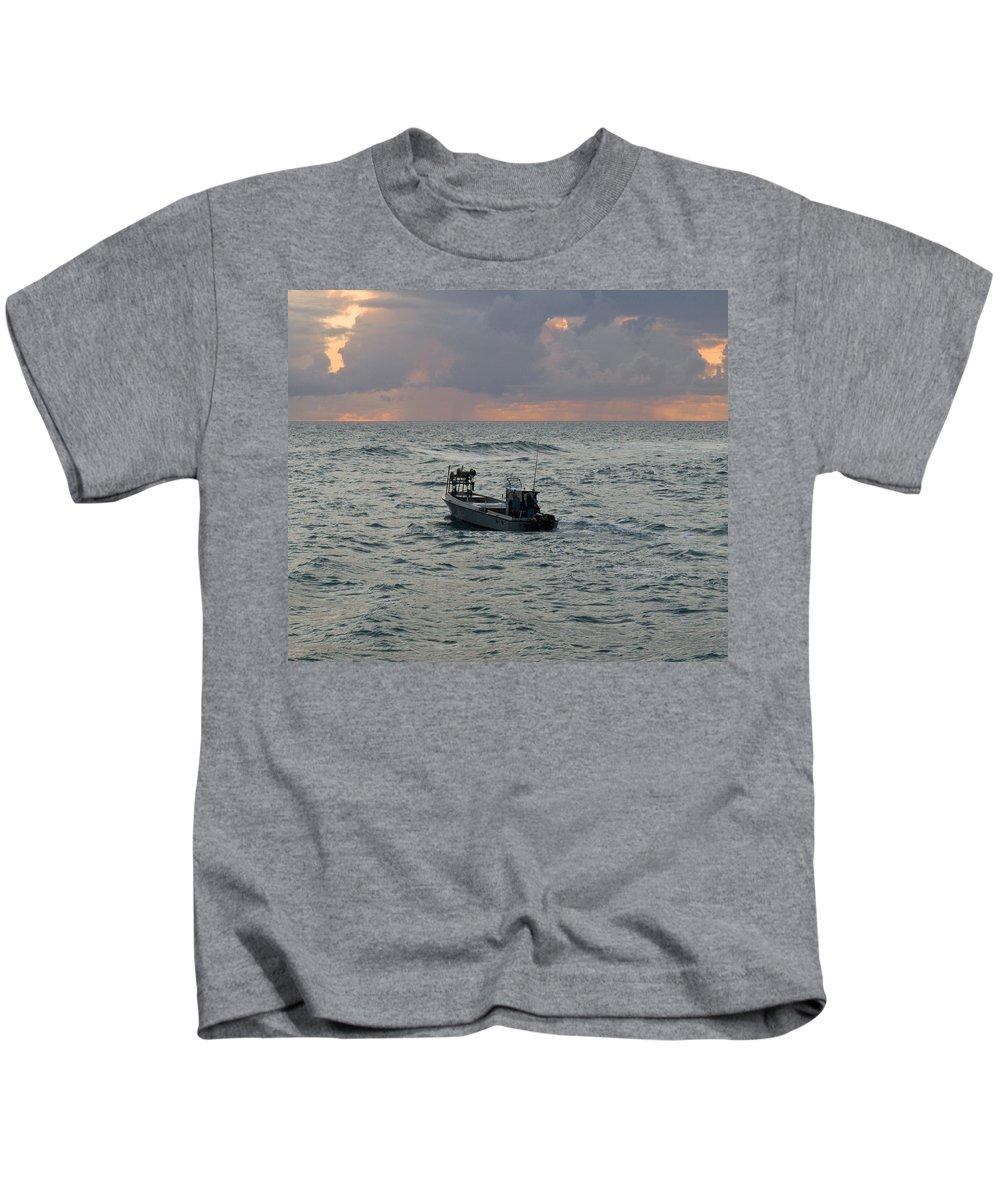Florida; Lobster; Lobstermen; Lobsterman; Boat; Trap; Catch; Haul; Traps; Sebastian; Inlet; Atlantic Kids T-Shirt featuring the photograph Florida Lobstermen At Dawn by Allan Hughes