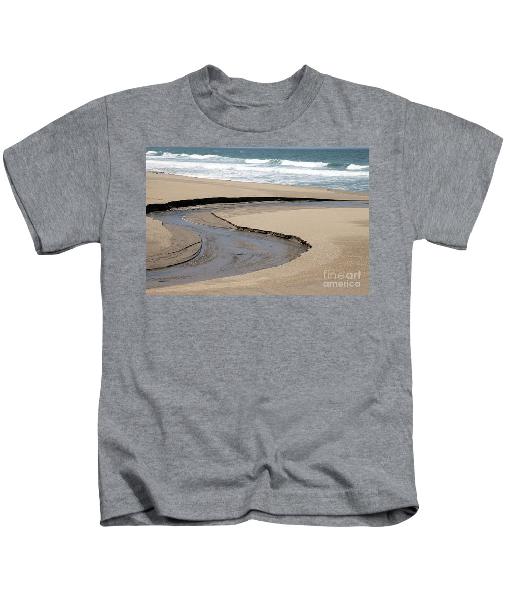 black And White Kids T-Shirt featuring the photograph Flow - Scott Creek by Amanda Barcon