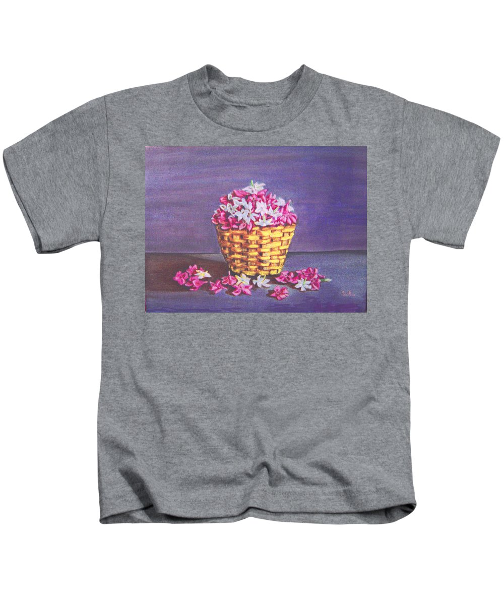 Flower Kids T-Shirt featuring the painting Flower Basket by Usha Shantharam