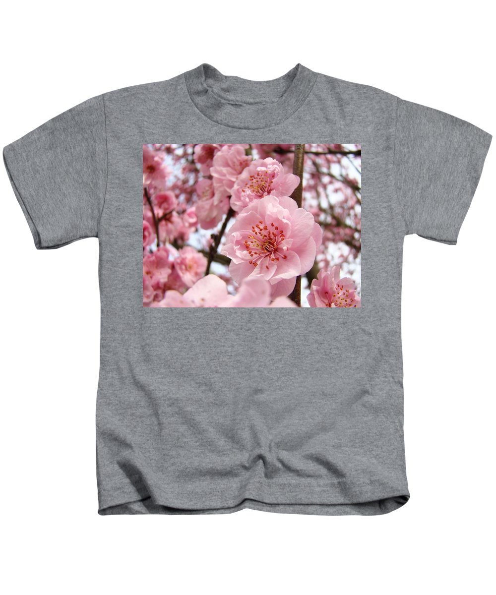 Blossom Kids T-Shirt featuring the photograph Flower Blossoms Art Spring Trees Pink Blossom Baslee Troutman by Baslee Troutman