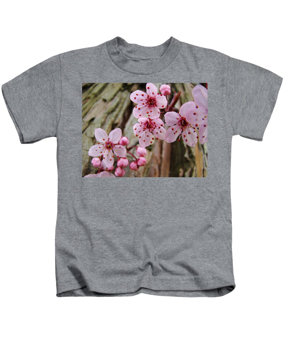 Tree Kids T-Shirt featuring the photograph Flower Blossoms Pink Tree Blossoms Art Print Giclee Spring Flowers by Baslee Troutman