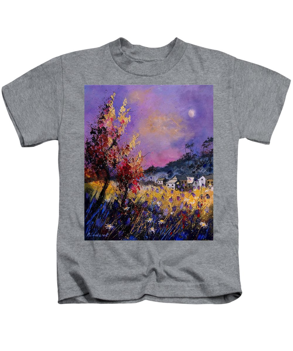 Kids T-Shirt featuring the painting Flowered Landscape 569070 by Pol Ledent