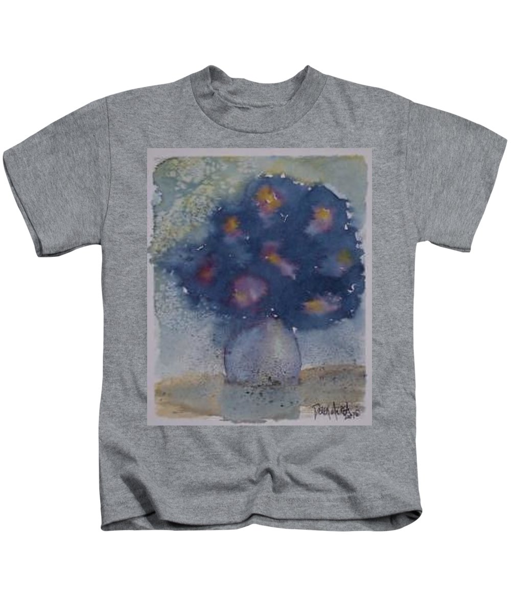 Watercolor Kids T-Shirt featuring the painting FLOWERS AT NIGHT original abstract gothic surreal art by Derek Mccrea