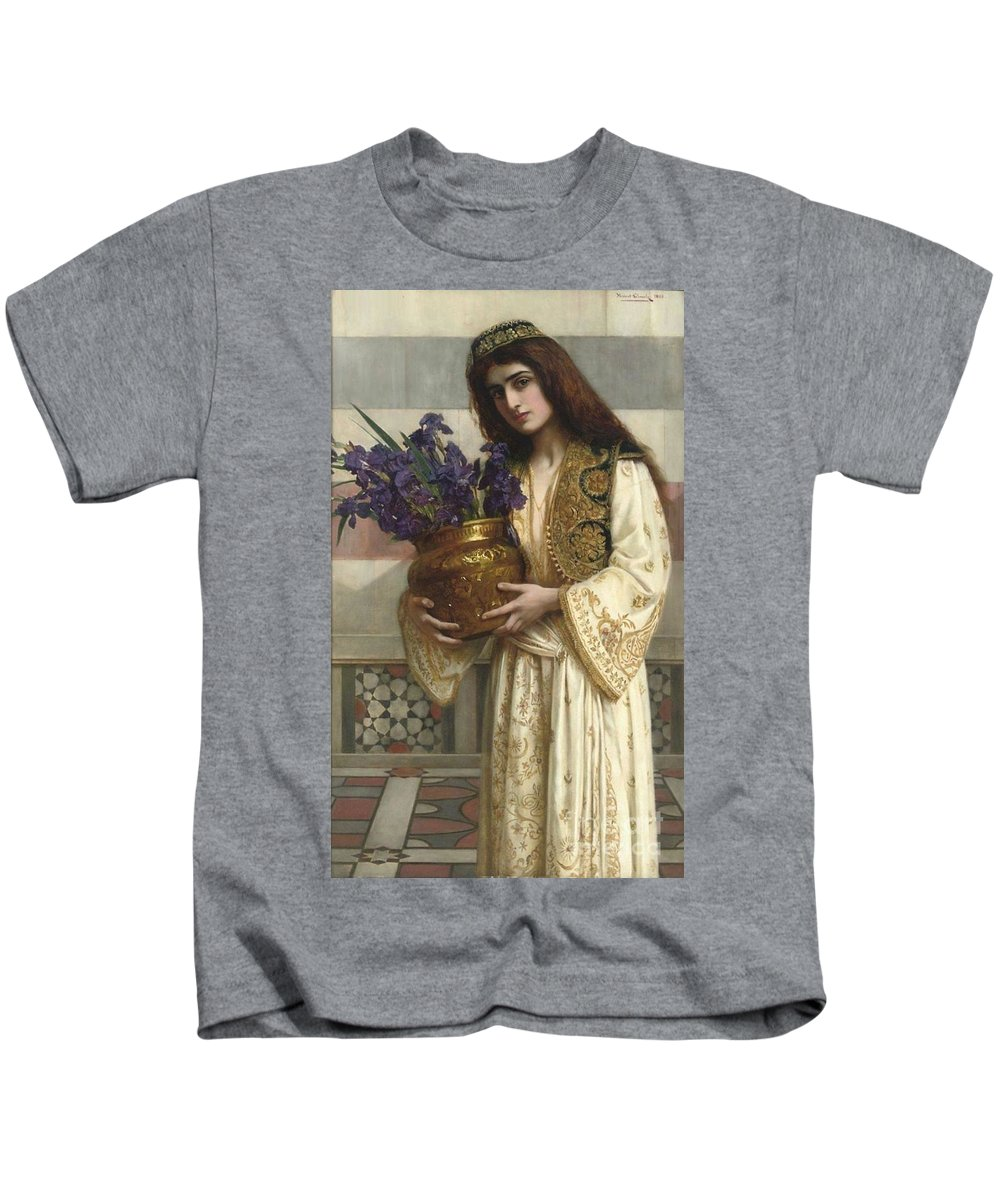 Herbert Gustave Schmalz-carmichael - Flowers Of The Levant 1900 Kids T-Shirt featuring the painting Flowers Of The Levant by MotionAge Designs