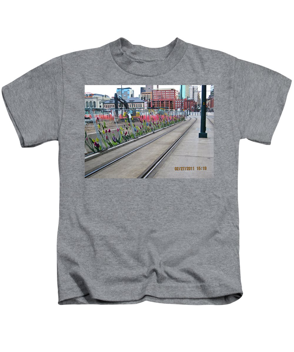 Flowers Kids T-Shirt featuring the photograph Flowers On The Fence by Angus Hooper Iii