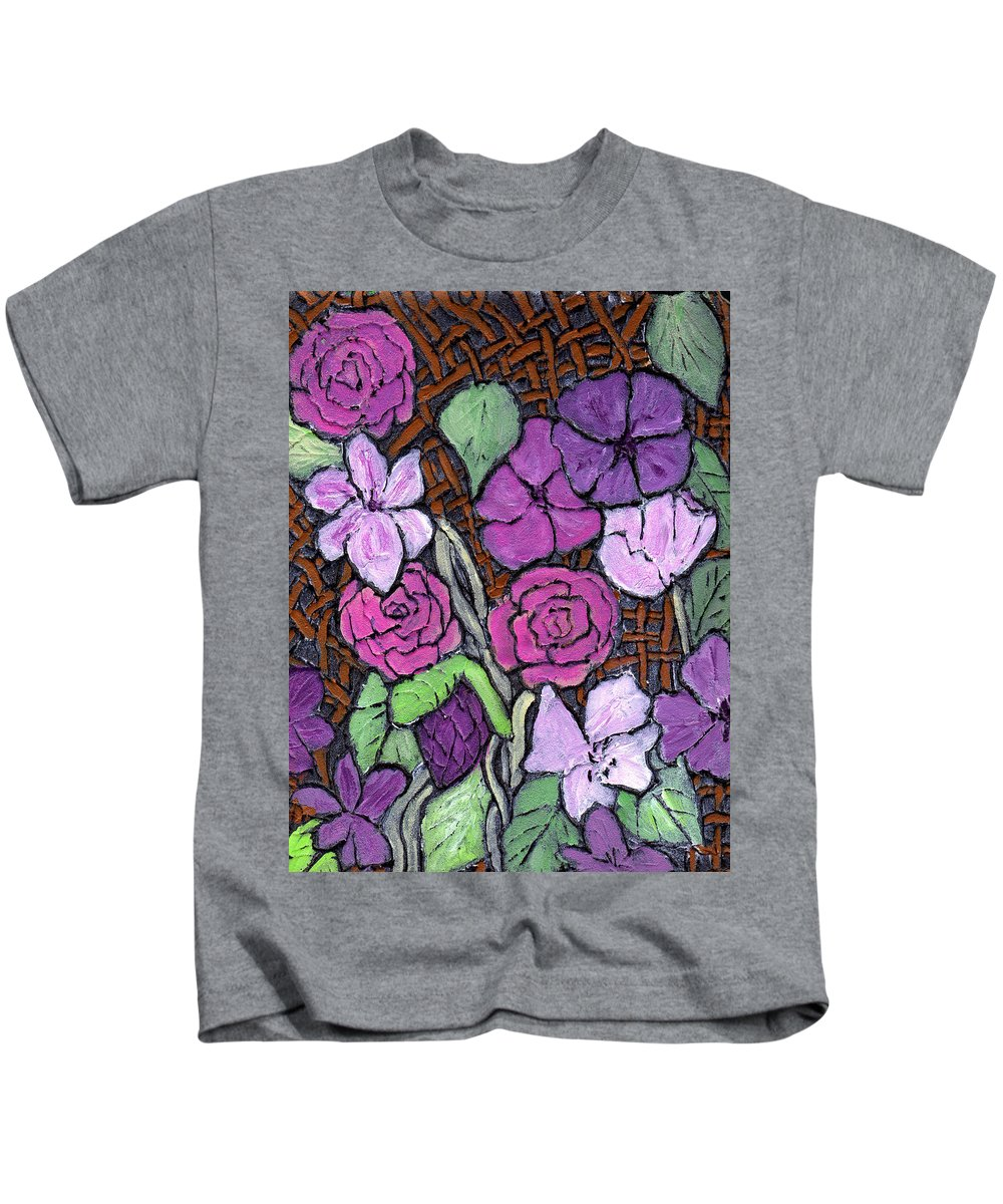 Flowers Kids T-Shirt featuring the painting Flowers With Basket Weave by Wayne Potrafka