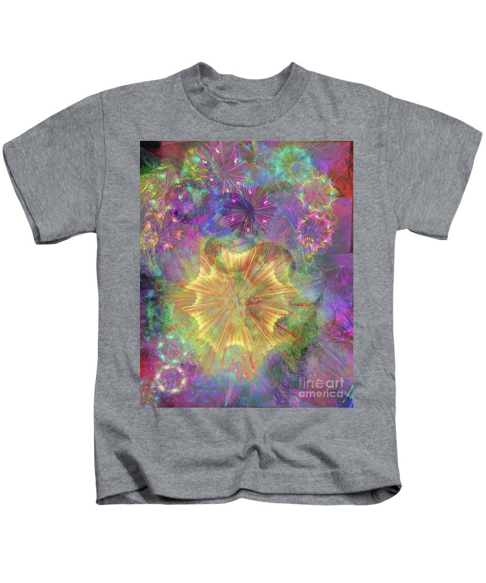Flowerworks Kids T-Shirt featuring the digital art Flowerworks by John Beck