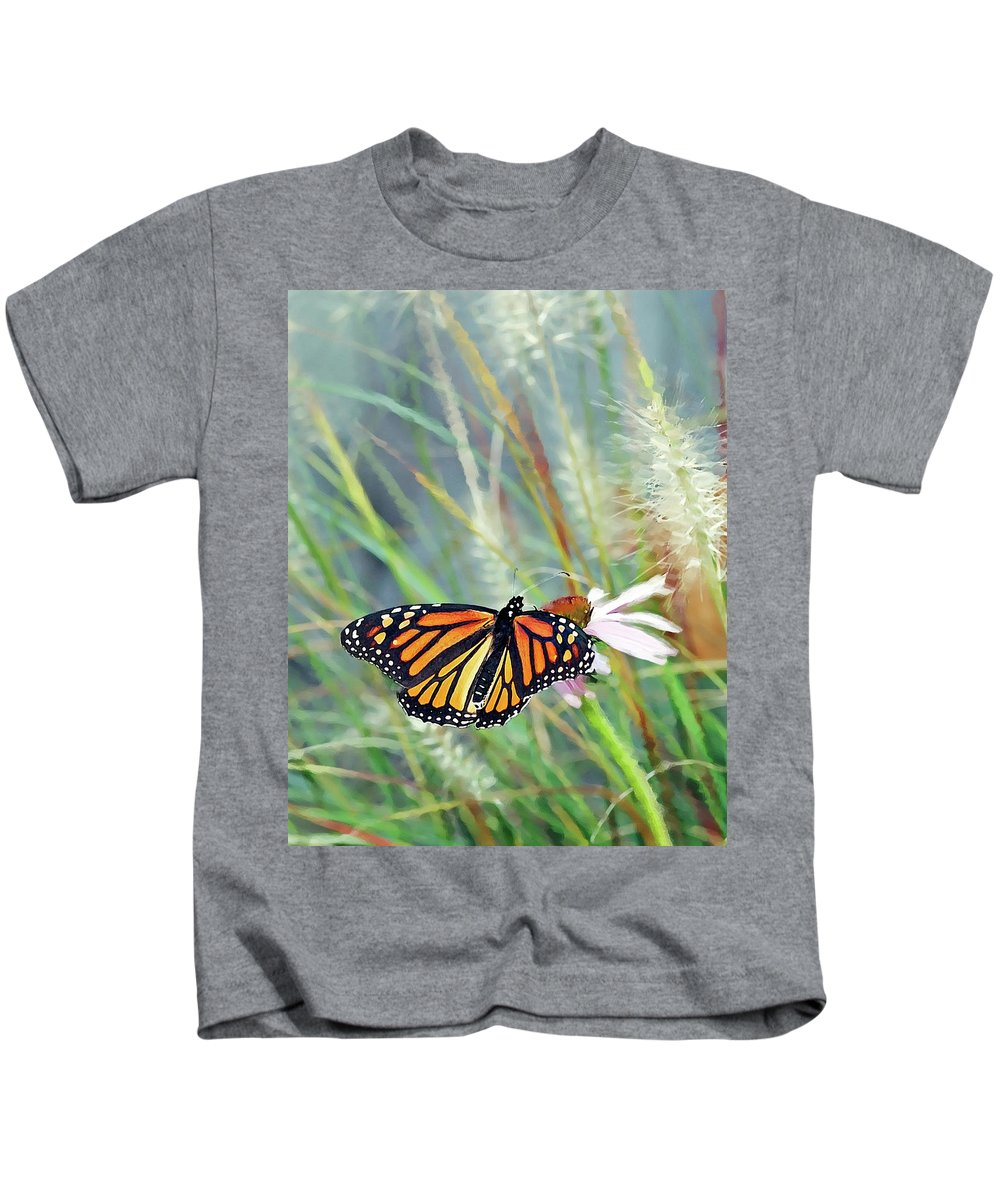 Monarch Butterfly Kids T-Shirt featuring the photograph Flying Flower by Betty LaRue