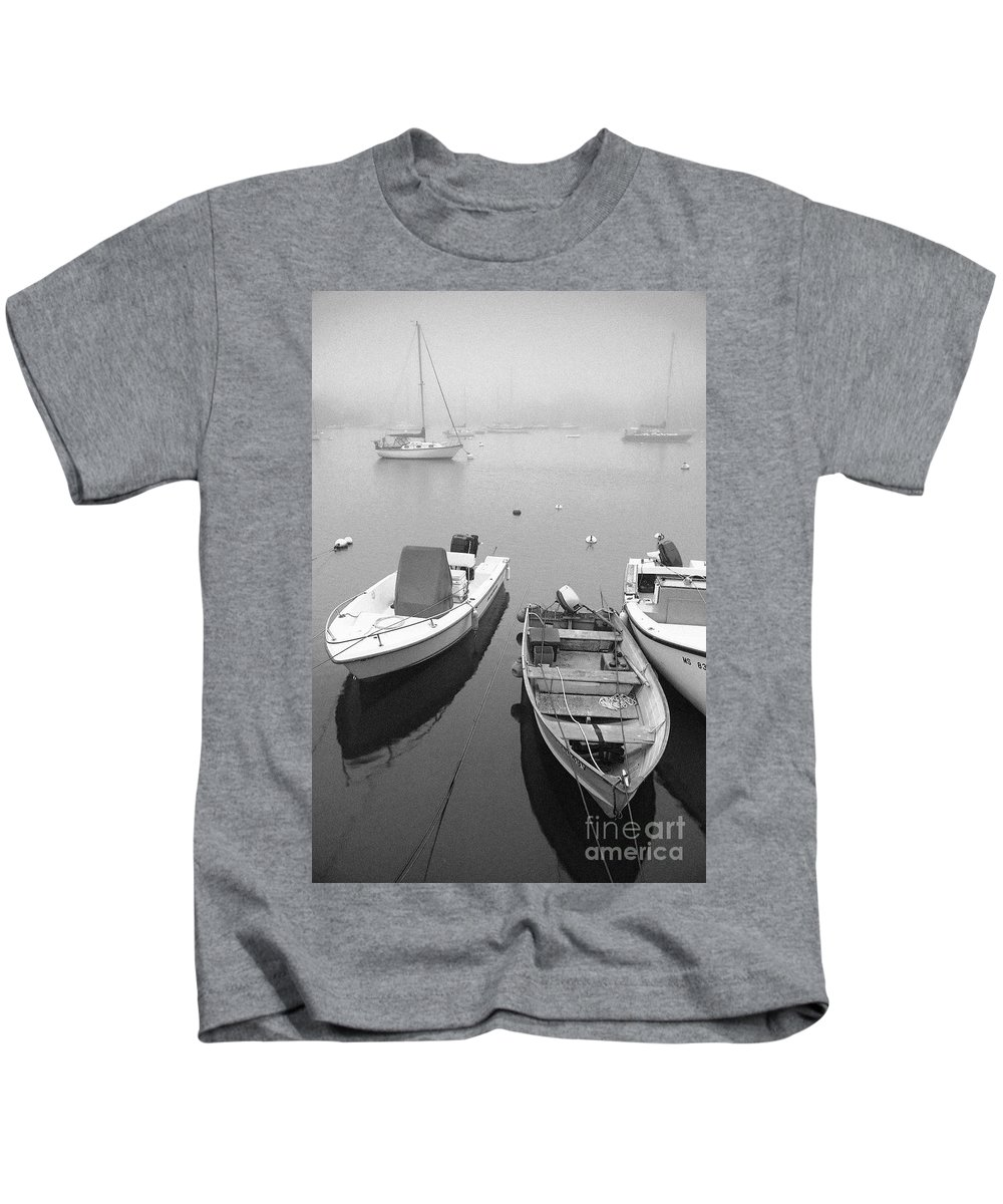 Black And White Kids T-Shirt featuring the photograph Foggy Morning In Cape Cod Black And White by Matt Suess