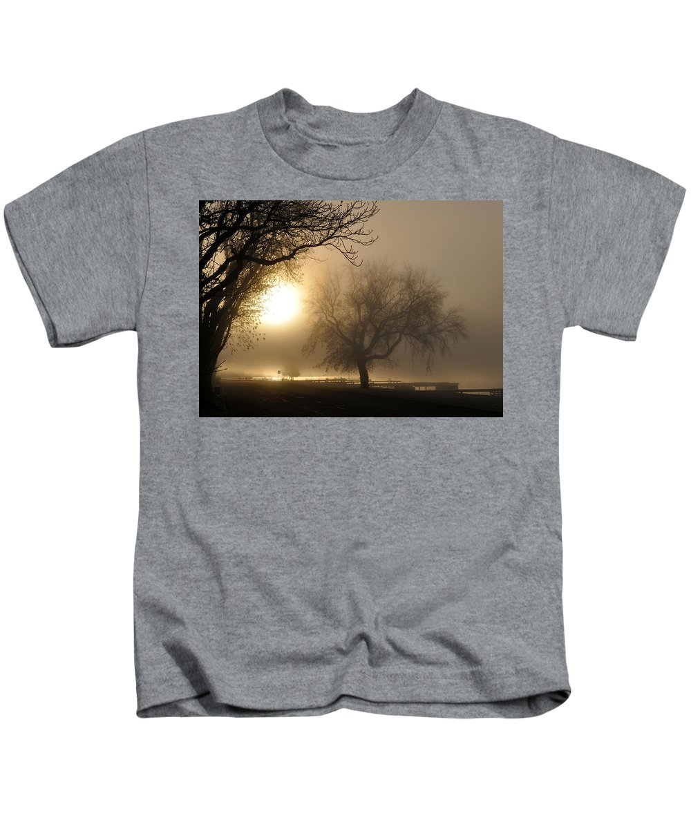 Foggy Kids T-Shirt featuring the photograph Foggy November Sunrise On The Bay by Tim Nyberg