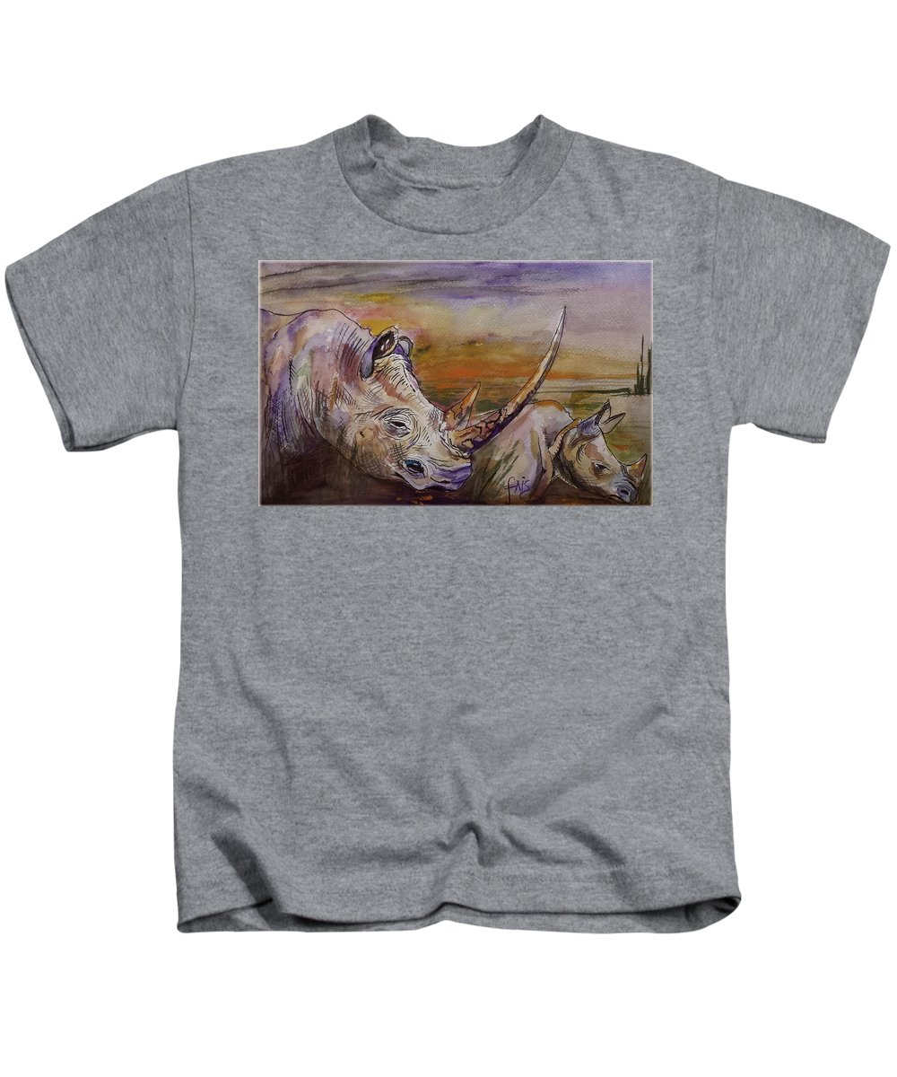 Wild Animals.animals Kids T-Shirt featuring the painting Follow Me by Luciano Fais