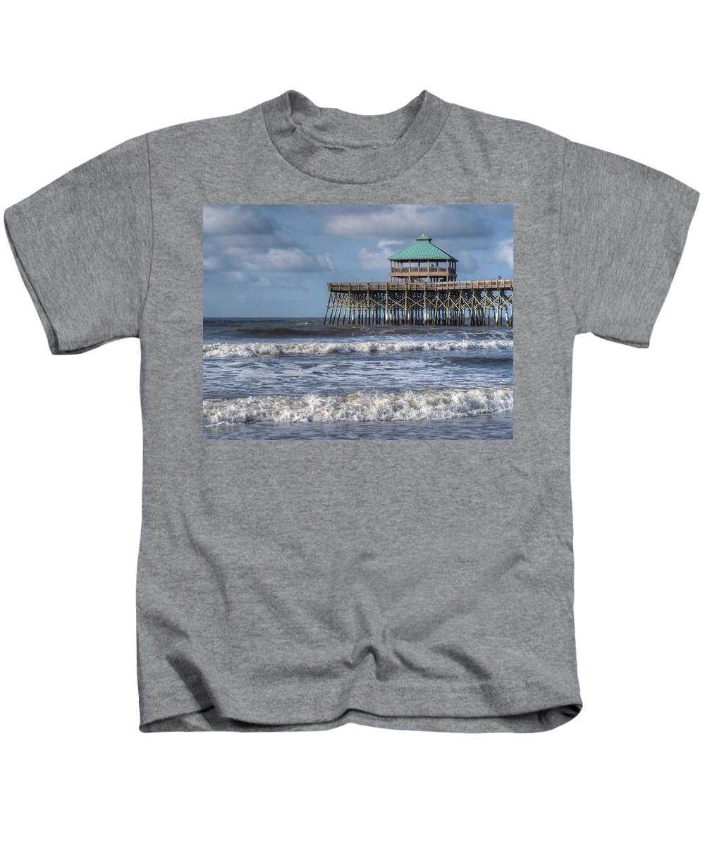 Ocean Kids T-Shirt featuring the photograph Folly Beach Pier by Michael Colgate