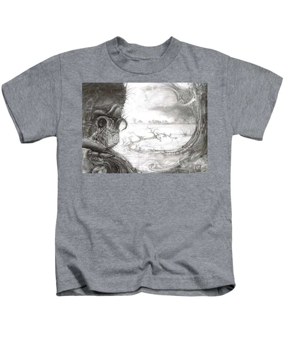Fomorii Kids T-Shirt featuring the drawing Fomorii Swamp by Otto Rapp