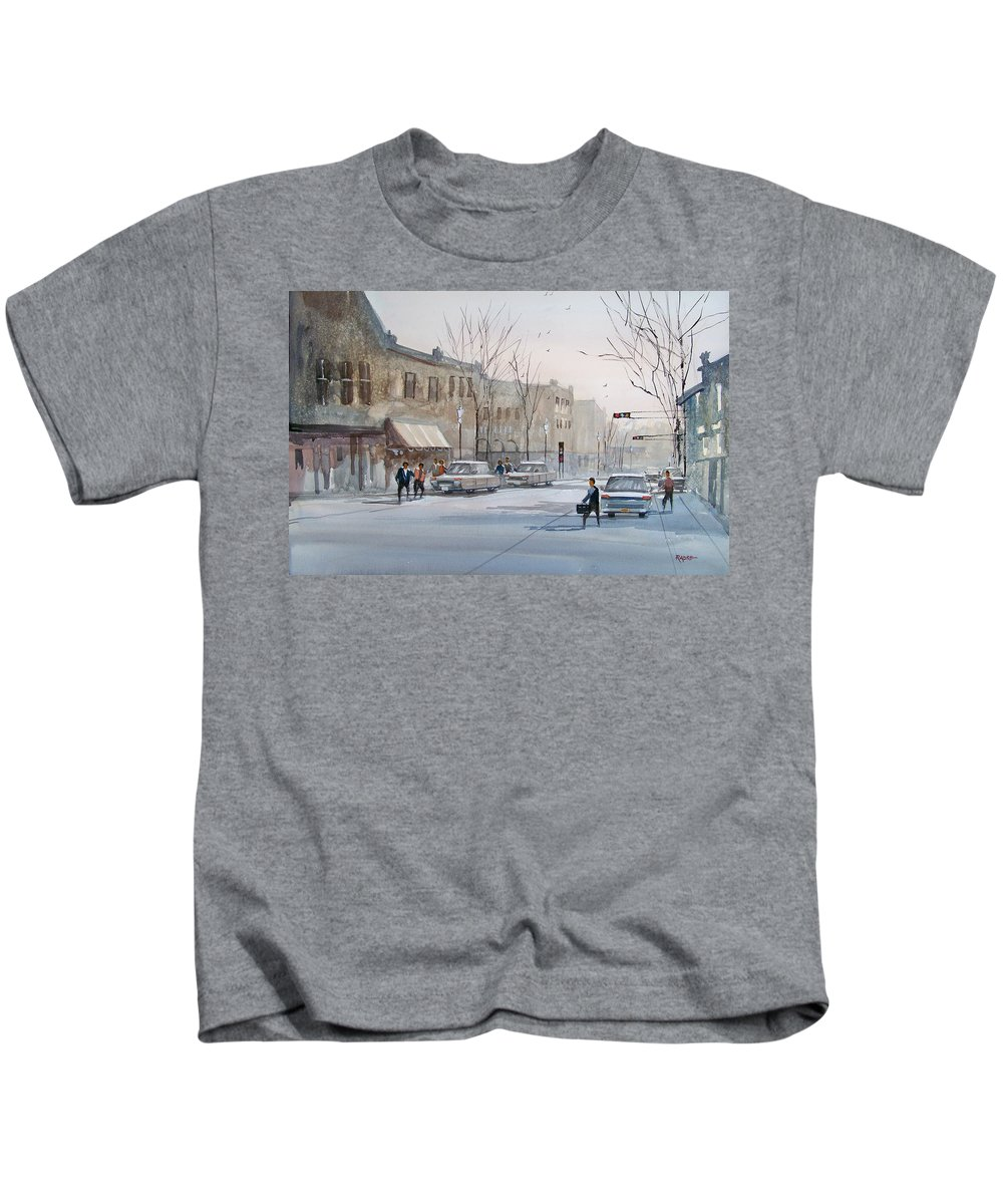 Ryan Radke Kids T-Shirt featuring the painting Fond Du Lac - Downtown by Ryan Radke