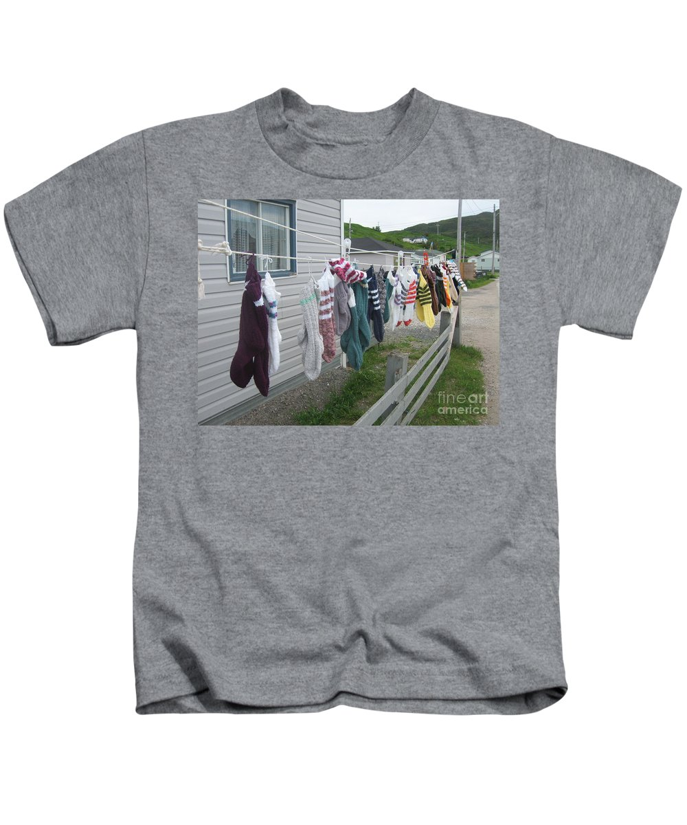 Knitted Socks Newfoundland Kids T-Shirt featuring the photograph For Sale by Seon-Jeong Kim