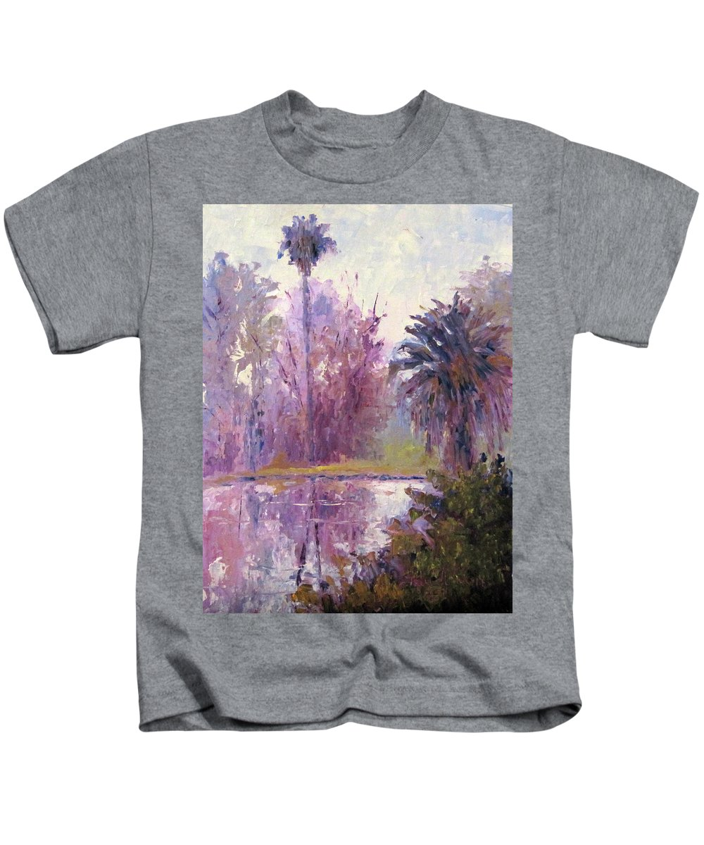 Art Kids T-Shirt featuring the painting Ford Park-cloudy Morning by Terry Chacon