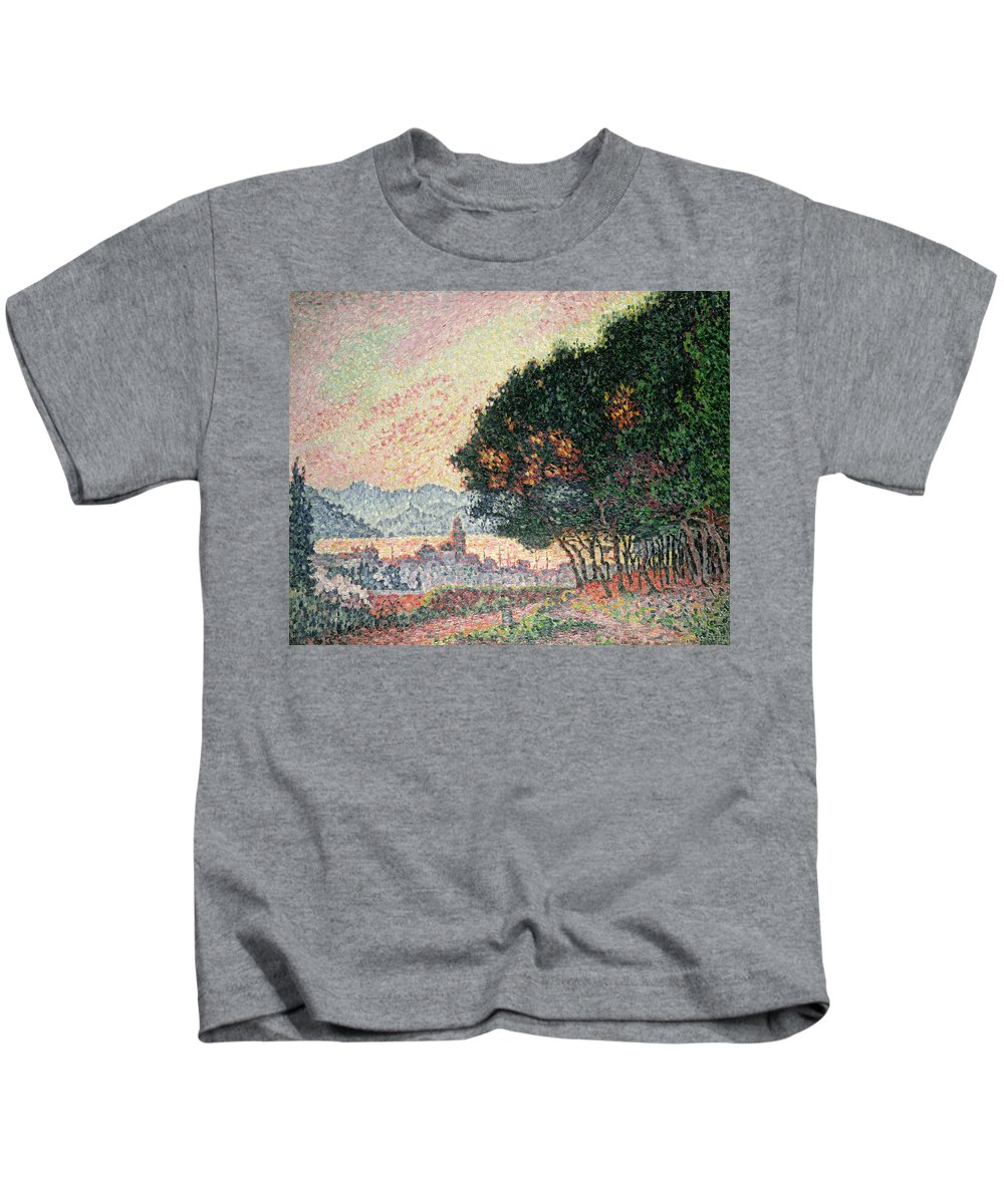 Pointillism Kids T-Shirt featuring the painting Forest Near St Tropez by Paul Signac