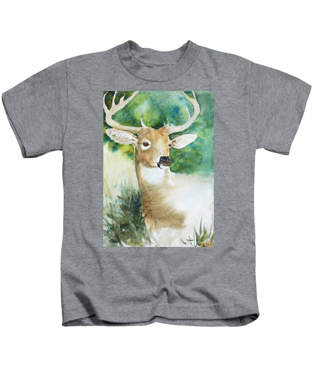 Deer Kids T-Shirt featuring the painting Forest Spirit by Christie Martin