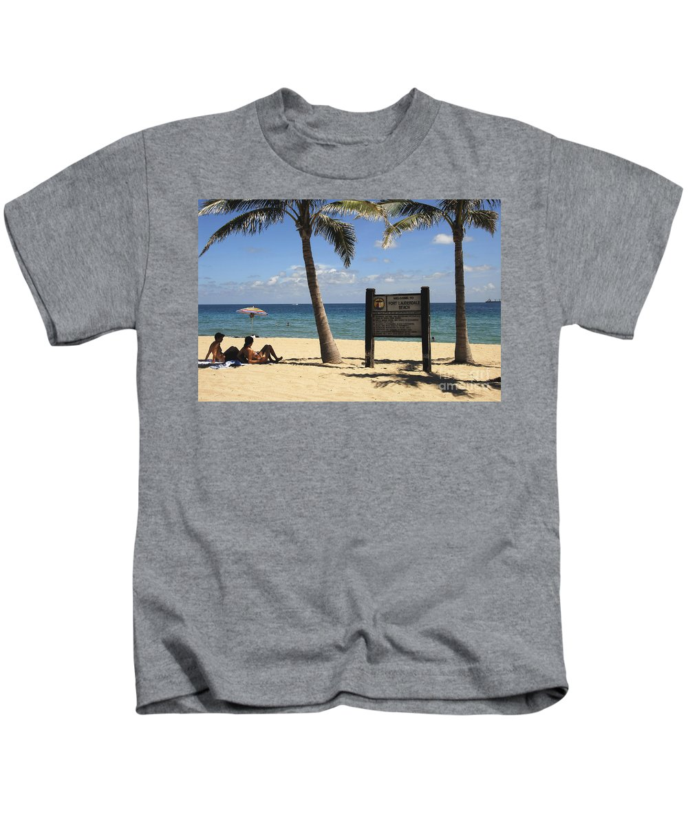 Fort Lauderdale Beach Florida Kids T-Shirt featuring the photograph Fort Lauderdale Beach by David Lee Thompson