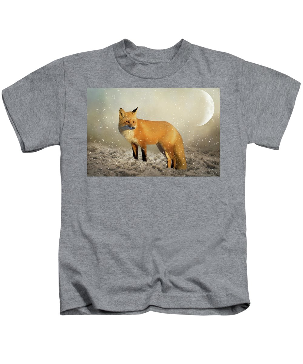 Fox Kids T-Shirt featuring the painting Fox In The Snowstorm - Painting by Ericamaxine Price