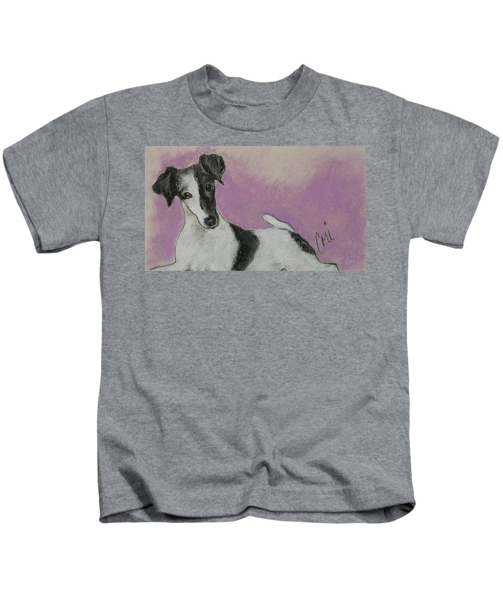 Dog Kids T-Shirt featuring the drawing Foxy by Cori Solomon
