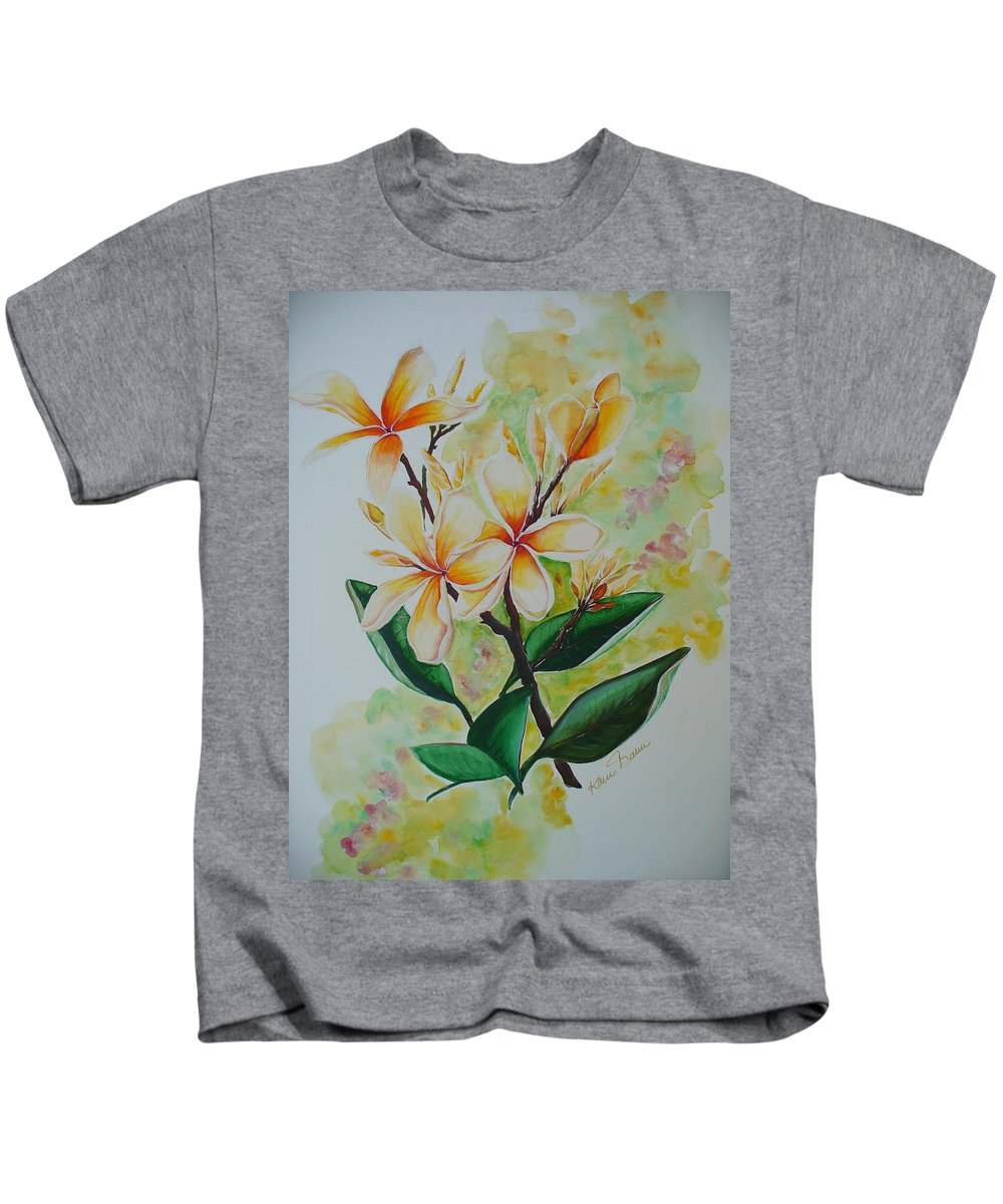 Kids T-Shirt featuring the painting Frangipangi by Karin Dawn Kelshall- Best
