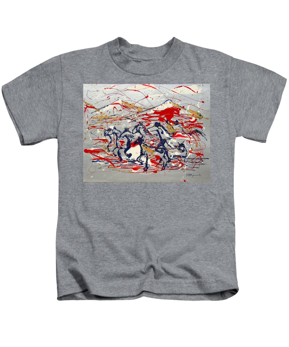 Freedom On The Open Range Kids T-Shirt featuring the painting Freedom On The Open Range by J R Seymour