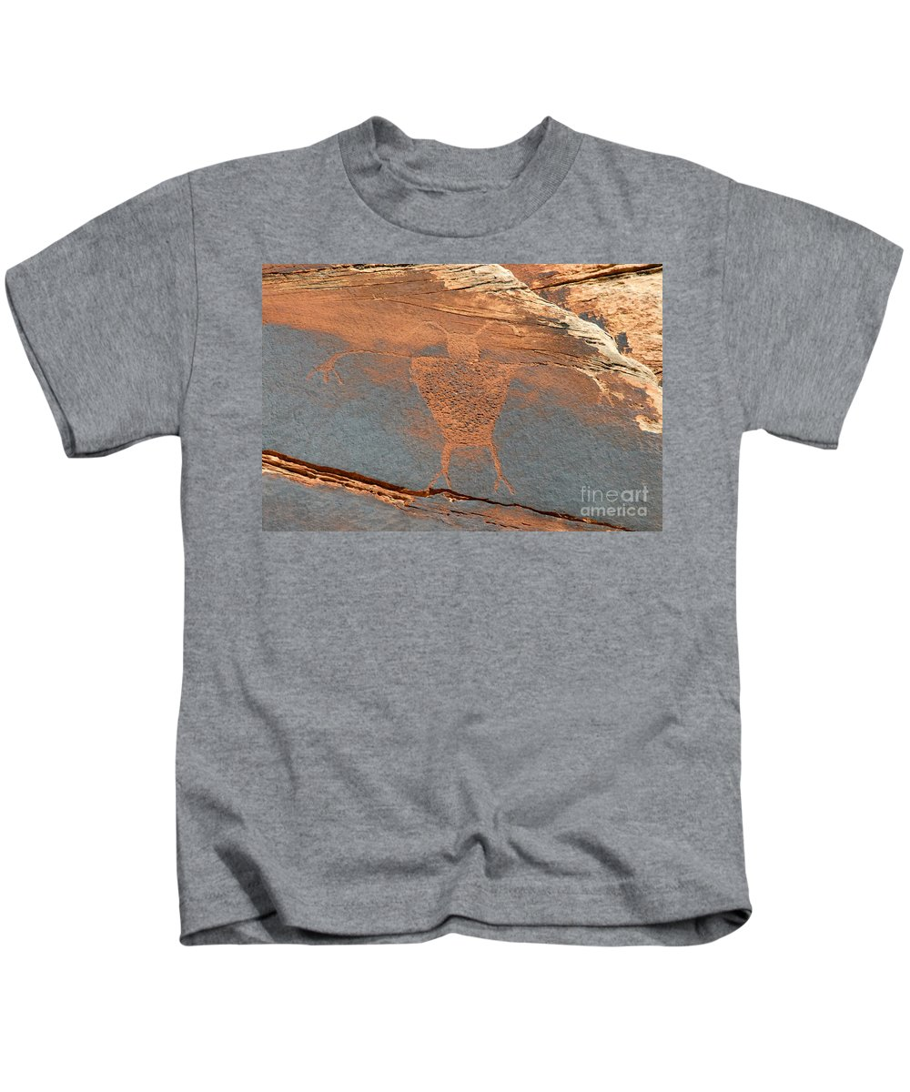 Petroglyph Kids T-Shirt featuring the photograph Fremont Man by David Lee Thompson