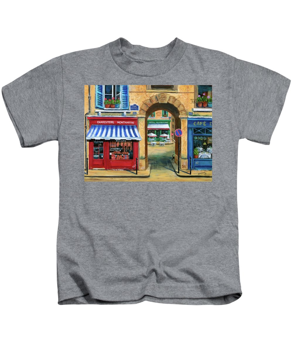 Paris Kids T-Shirt featuring the painting French Butcher Shop by Marilyn Dunlap