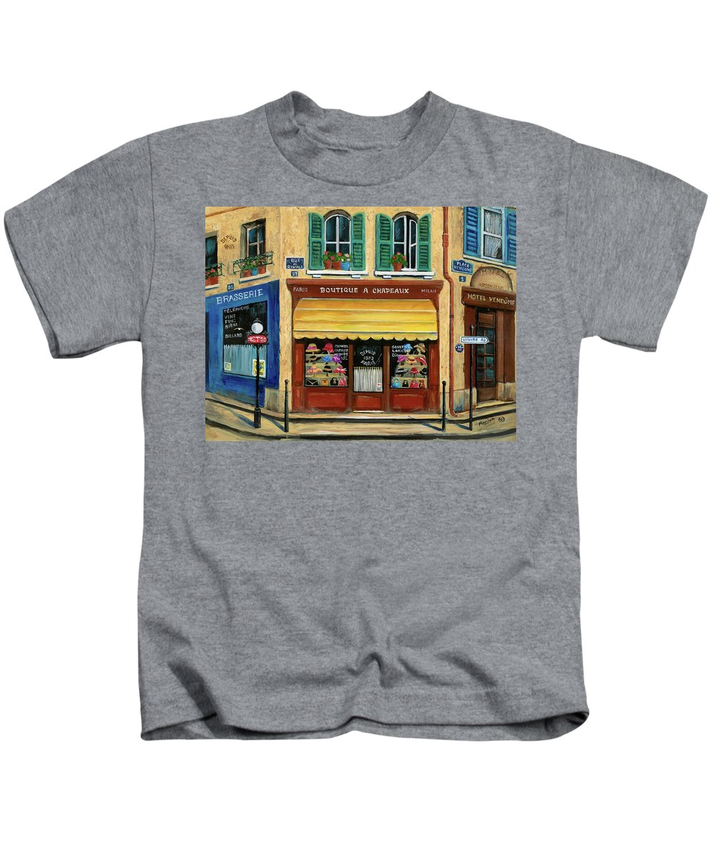Paris Kids T-Shirt featuring the painting French Hats And Purses Boutique by Marilyn Dunlap