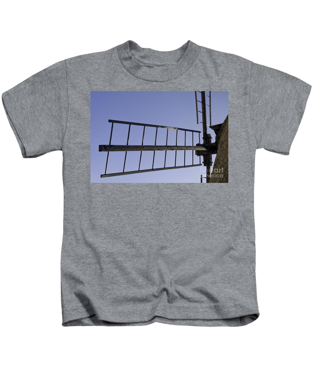 Saint Saturnin-lès-apt France Windmill Windmills Blade Blades Sail Sails Building Buildings Structure Structures Odds And Ends Moulin Moulins Provence Kids T-Shirt featuring the photograph French Moulin Blades by Bob Phillips