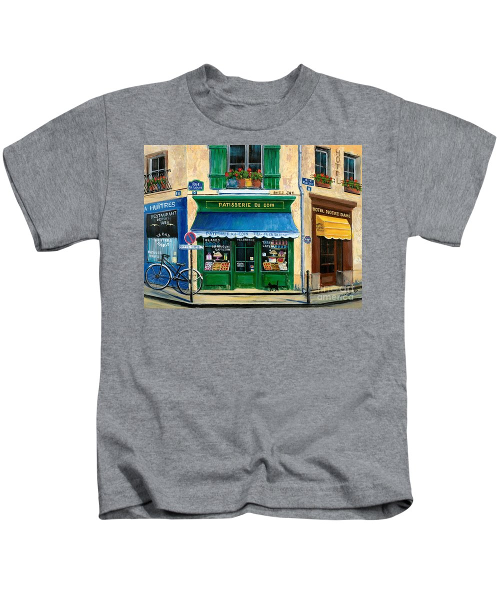 Paris Kids T-Shirt featuring the painting French Pastry Shop by Marilyn Dunlap