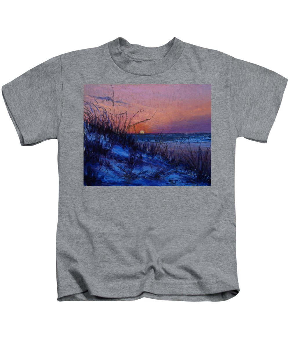 Landscape Kids T-Shirt featuring the pastel Frenchy's Sunset by Susan Jenkins