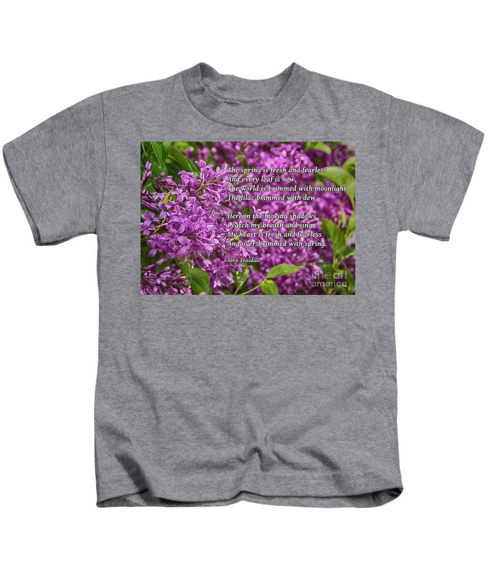 Lilac Kids T-Shirt featuring the photograph Fresh And Fearless by Janice Rae Pariza