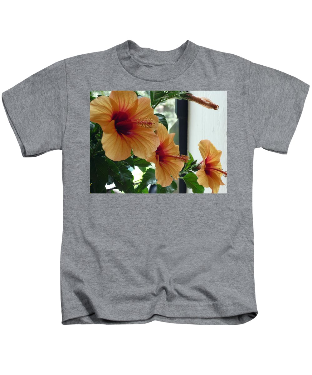 Photography Flower Floral Bloom Hibiscus Peach Kids T-Shirt featuring the photograph Friends For A Day by Karin Dawn Kelshall- Best