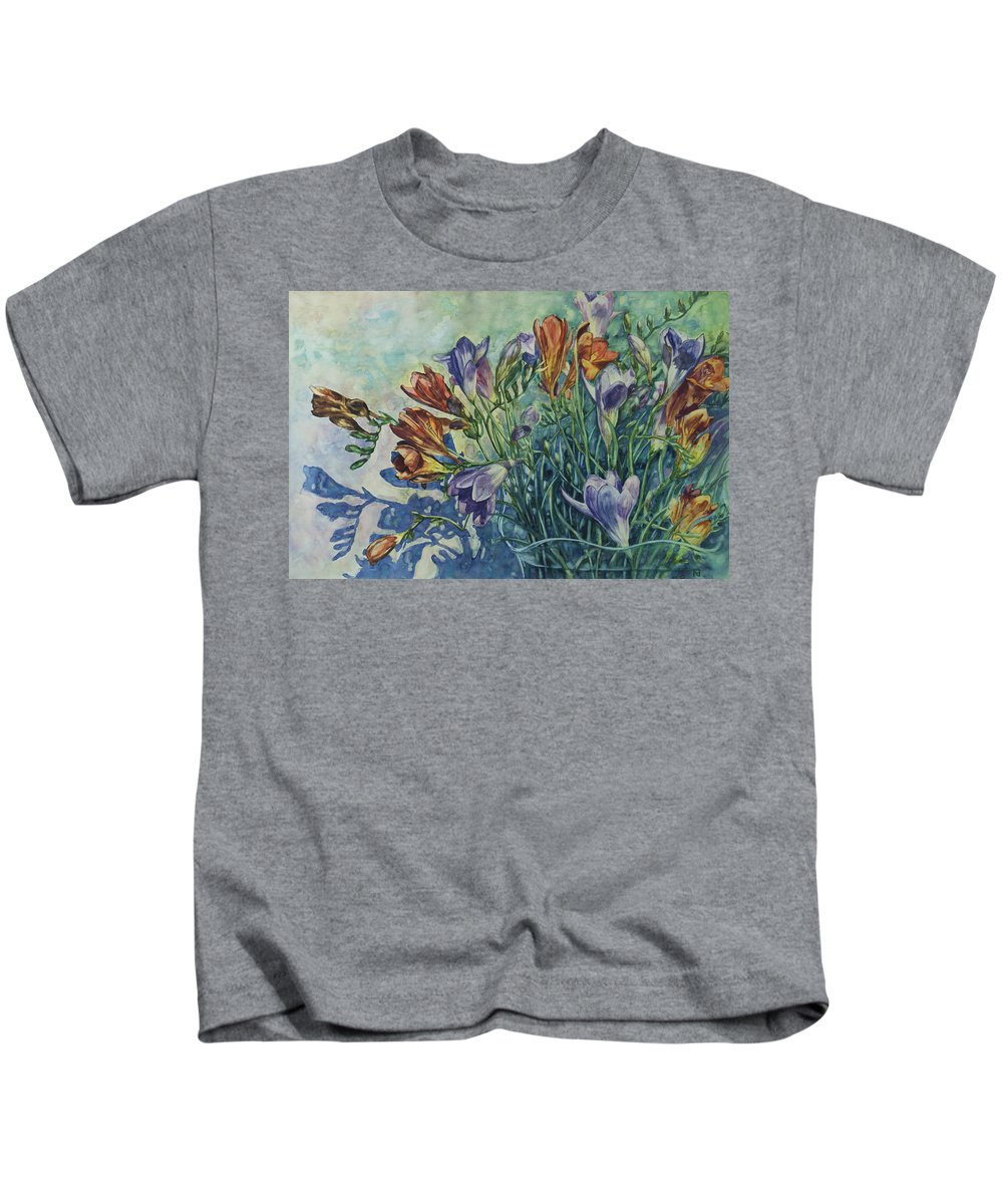 Flowers Kids T-Shirt featuring the painting Frishias by Rick Nederlof