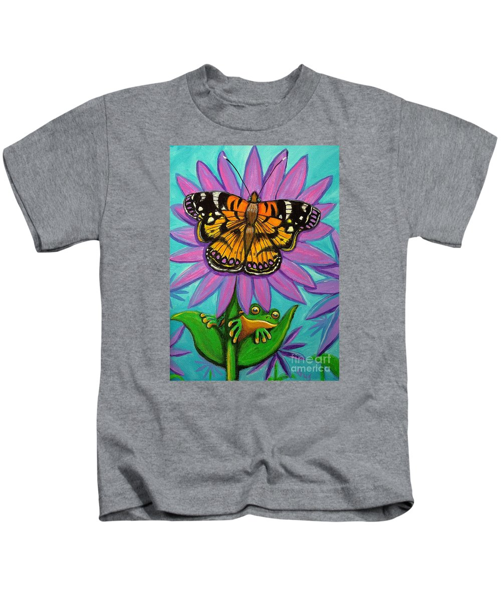 Frog And Butterfly Painting Kids T-Shirt featuring the painting Frog And Butterfly by Nick Gustafson