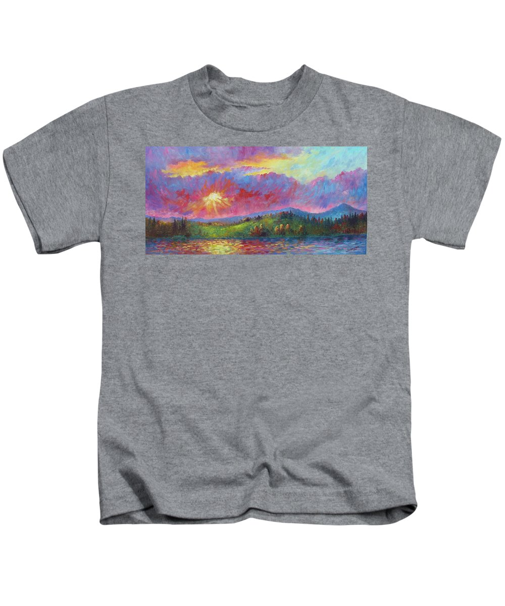 Landscape Kids T-Shirt featuring the painting Front Range Sunset by David G Paul