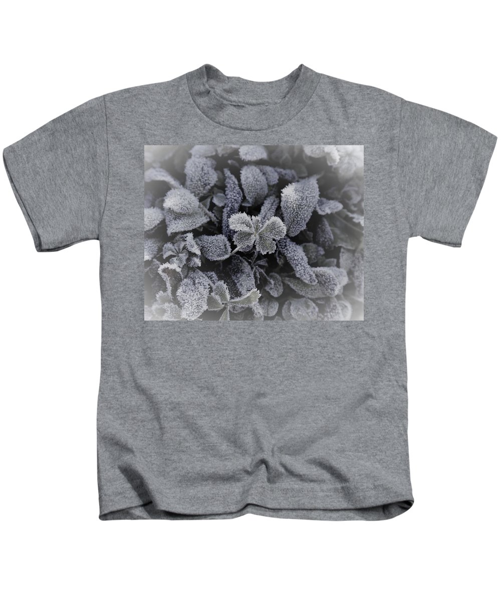 Plant Kids T-Shirt featuring the photograph Frost On Leaves 1 by Venus Speedwell
