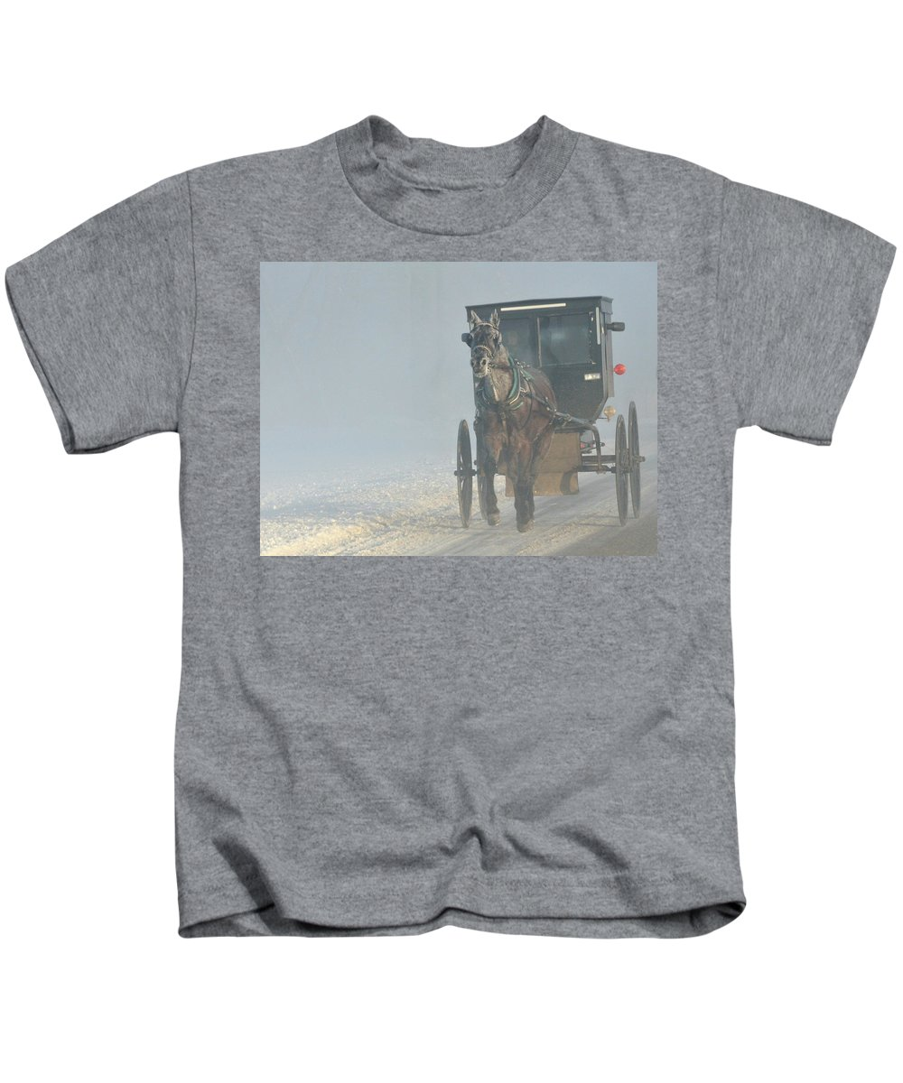 Amish Kids T-Shirt featuring the photograph Frosty Morning In Amishland by David Arment