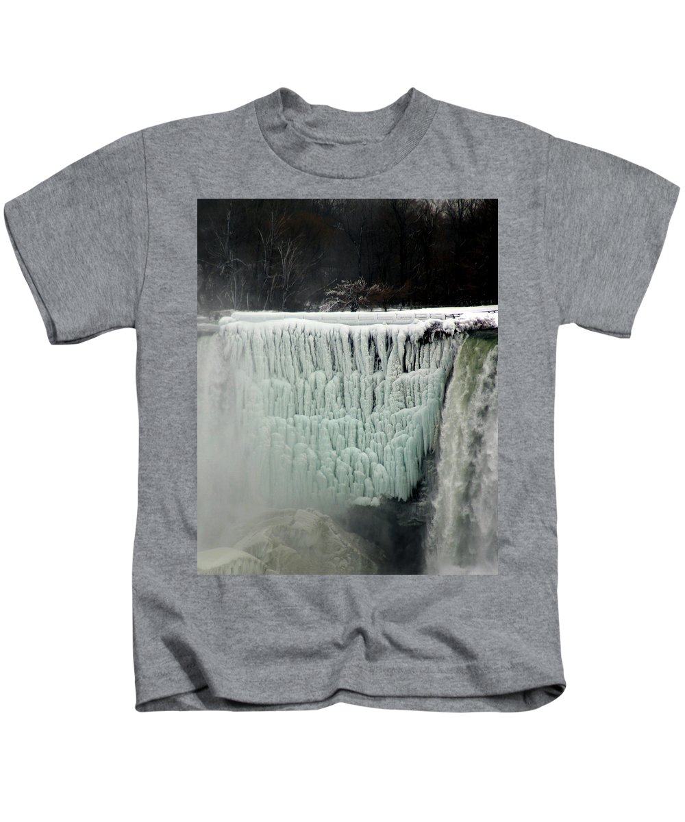 Landscape Kids T-Shirt featuring the photograph Frozen Falls by Anthony Jones