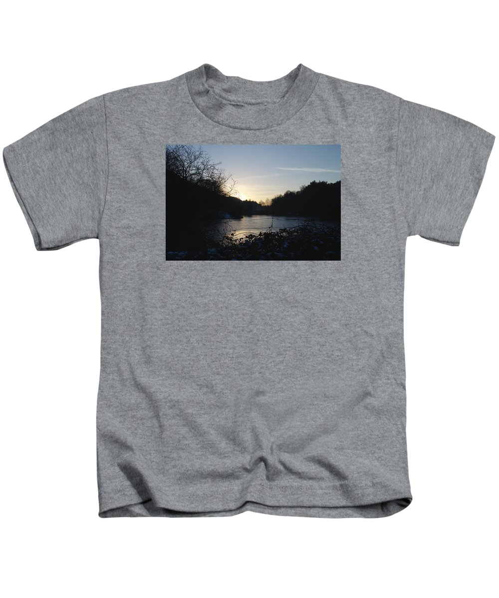 Frozen Kids T-Shirt featuring the photograph Frozen Pool At Sunset by Adrian Wale