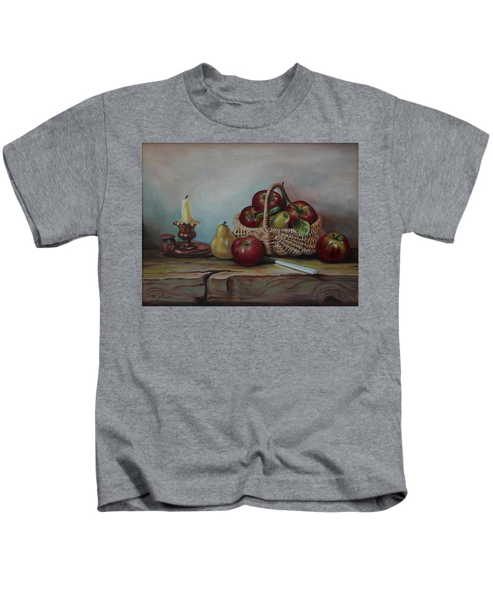 Fruit Basket Kids T-Shirt featuring the painting Fruit Basket - Lmj by Ruth Kamenev
