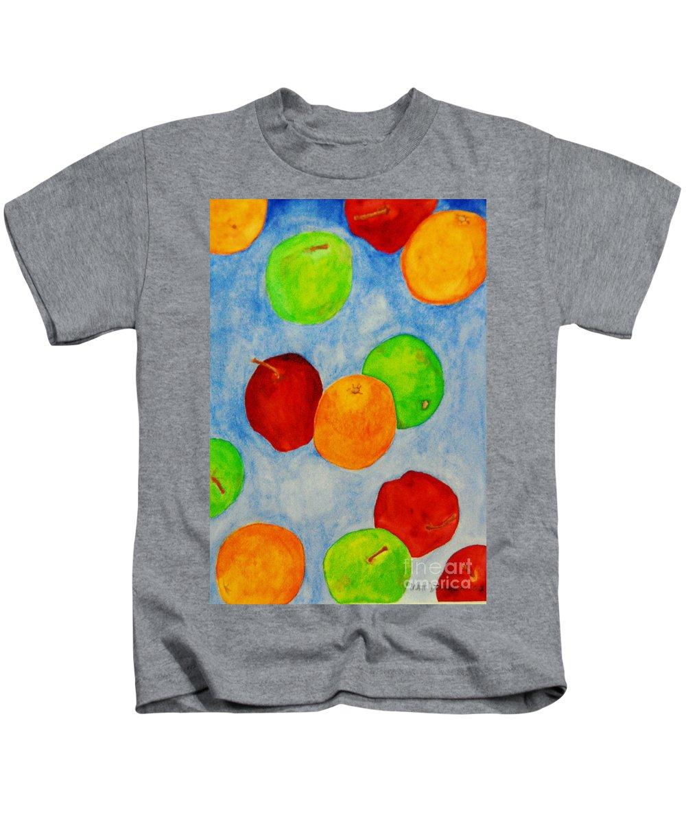 Fruits Kids T-Shirt featuring the painting Fruit Drops by Matthew Doronila
