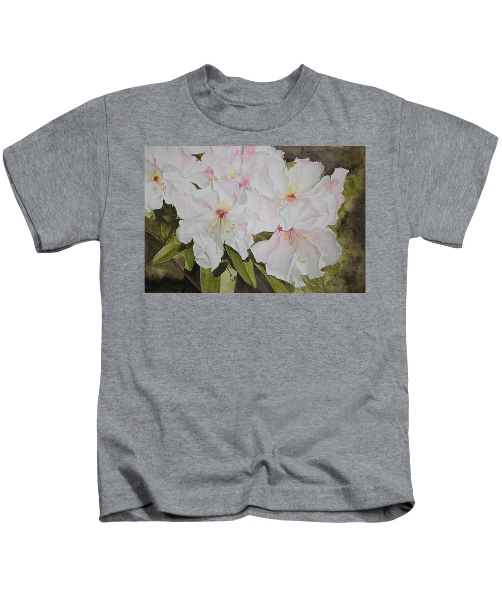 Flowers Kids T-Shirt featuring the painting Full Bloom by Jean Blackmer