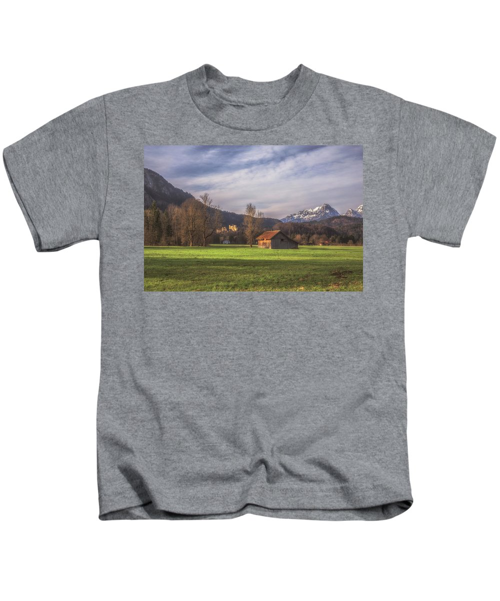 6x4 Kids T-Shirt featuring the photograph Fussen Mountain Scene by Chris Fletcher